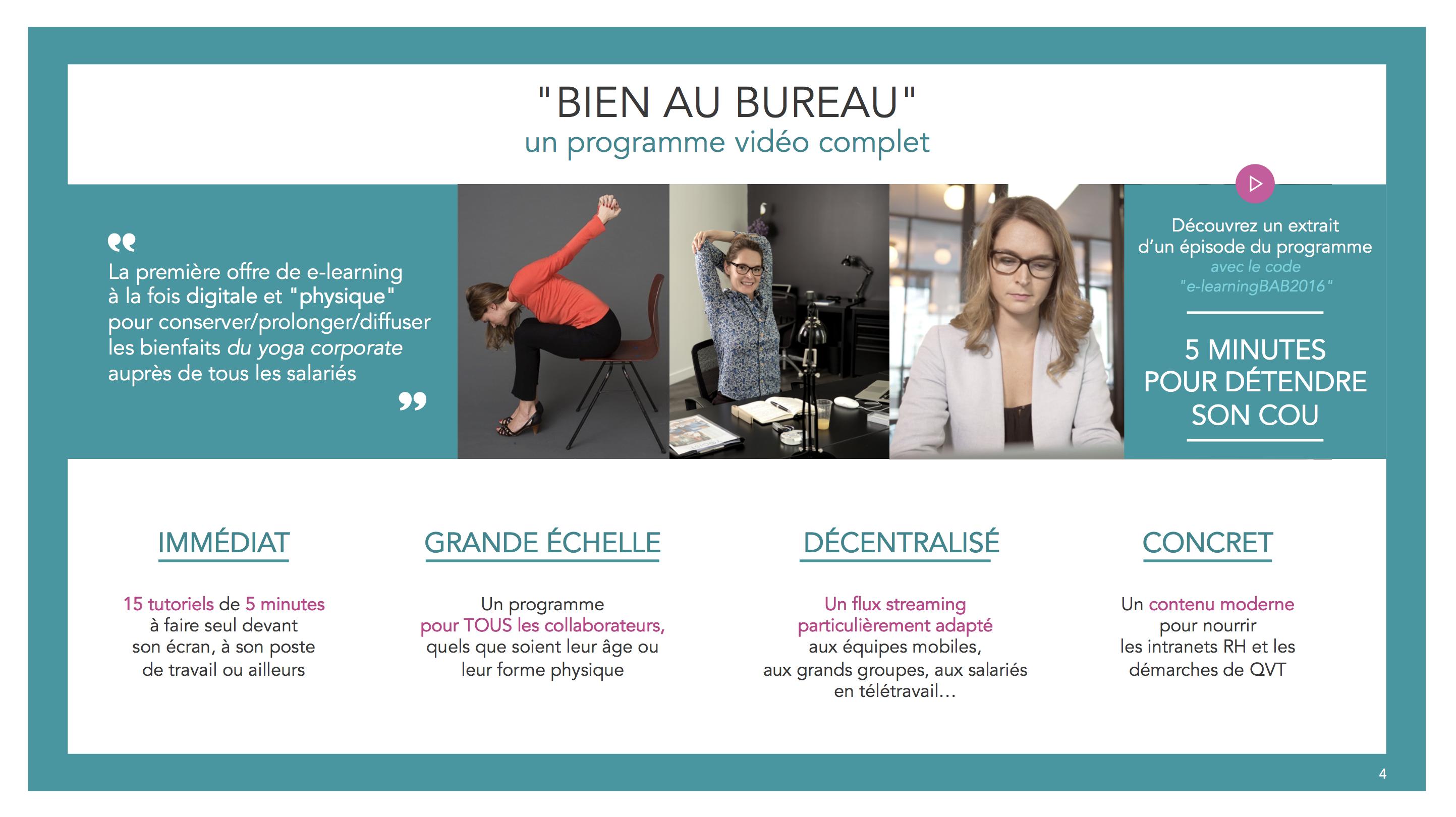 Présentation du programme d'e-learning Bien au bureau - YOGIST