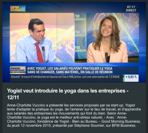 YOGIST dans Good Morning Business sur BFM le 12 /11/15