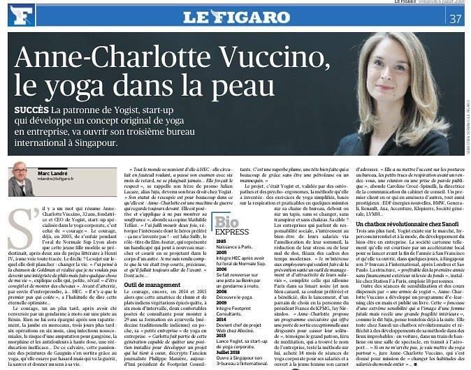 Anne-Charlotte Vuccino et Yogist dans le Figaro
